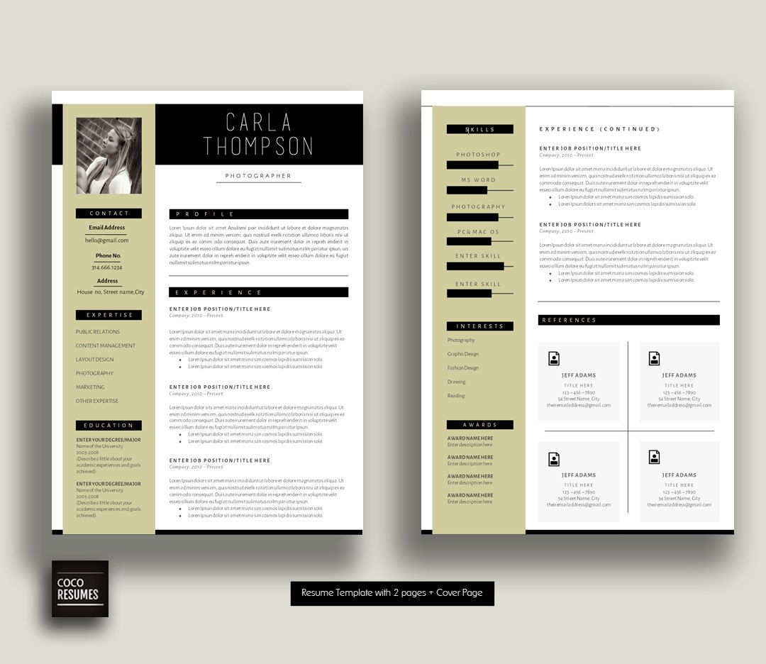 resume    cv template cover letter for ms word par cocoresumes
