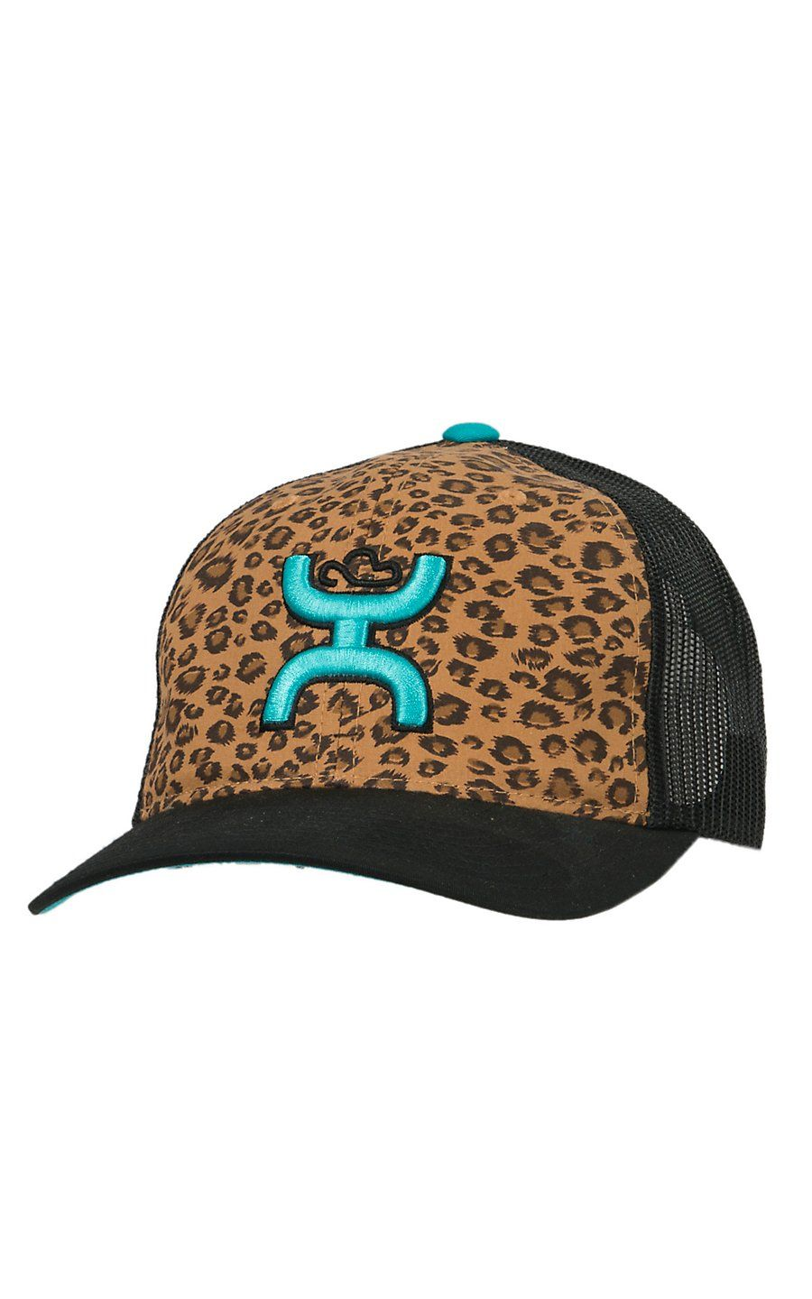 HOOey Leopard with Turquoise Hands Up Logo Black Mesh Back Cap ... ba999e4295a1
