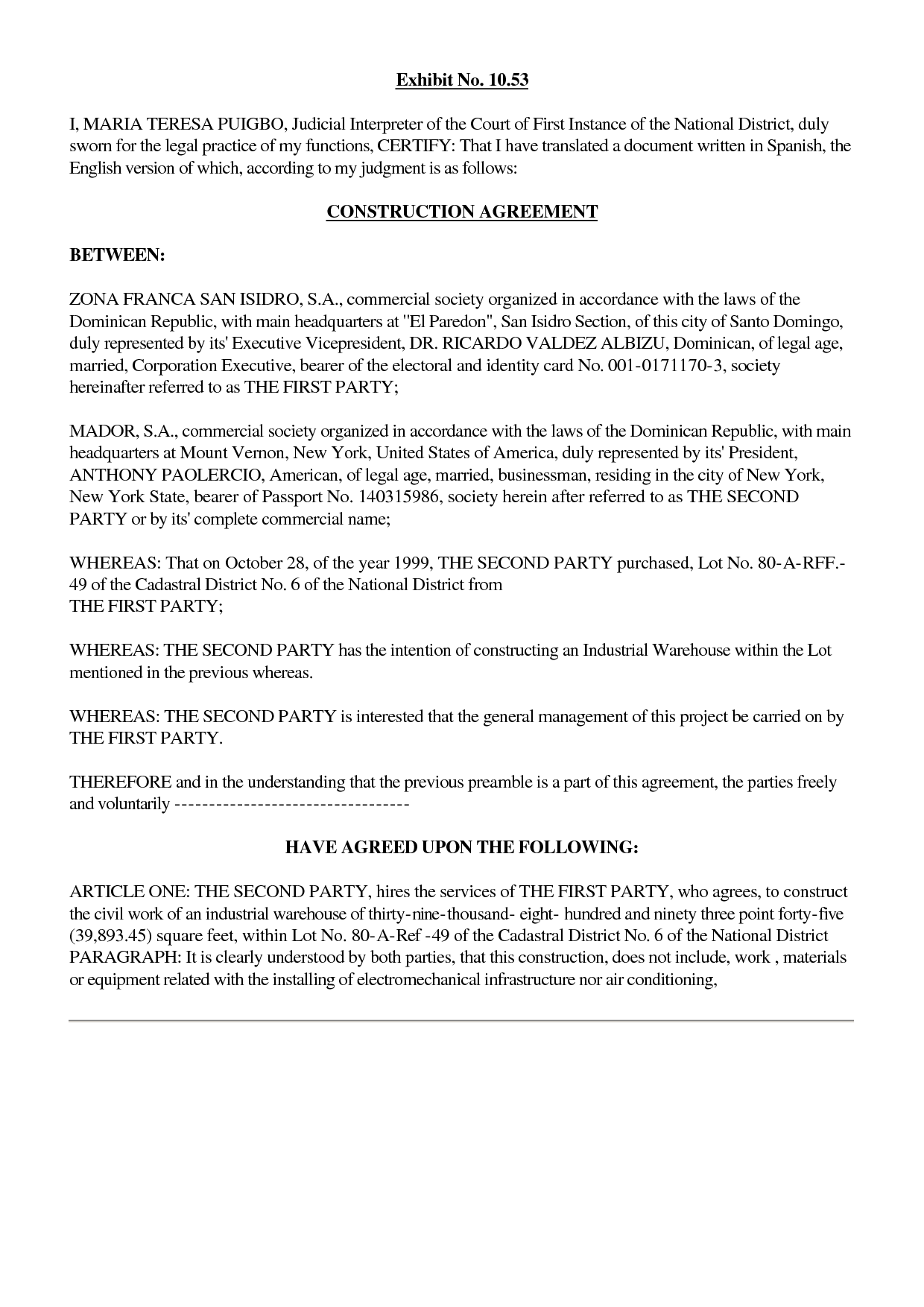 Construction Agreement Michael Anthony Jewelers Inc 4 28 2000