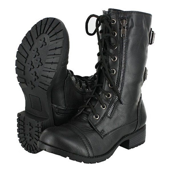 Women's Combat Military Cowboy Mid Calf Rubber Sole Boots