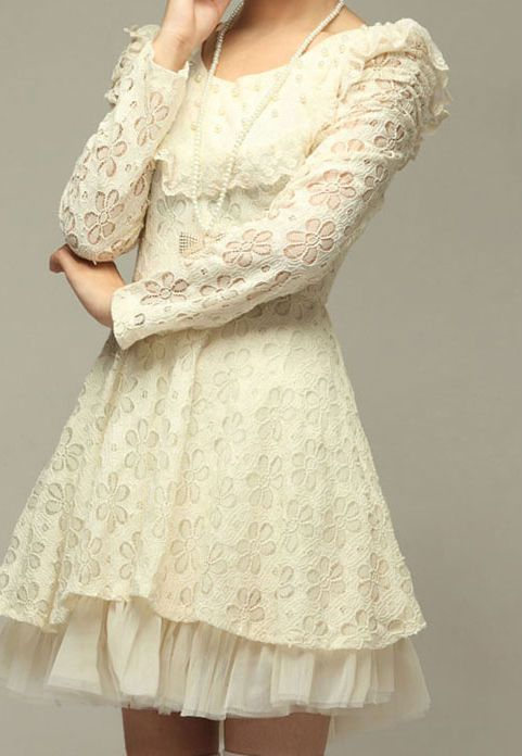Sweet Floral Pattern Faux Pearl Embellished Long Sleeved White Lace Dress - Dresses