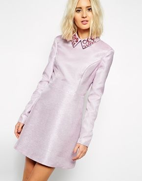 7ff17b86d9184 Enlarge ASOS BLACK Glitter Dress with Gem Collar | ASOS DREAMS ...