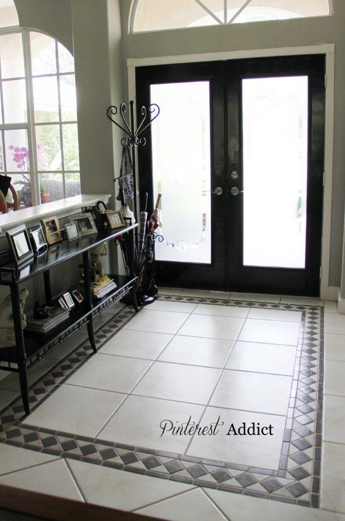 Painted floor tiles