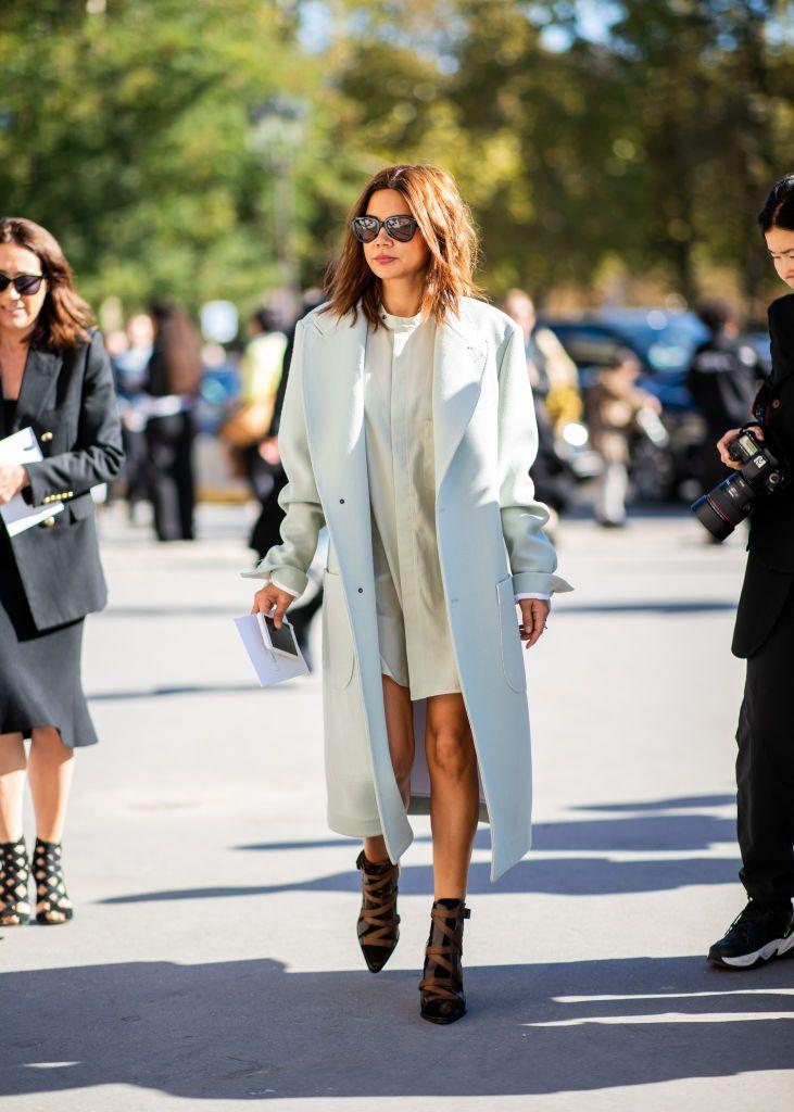 PARIS, FRANCE – SEPTEMBER 26: Christine Centenera wearing pastel coat is seen ou…
