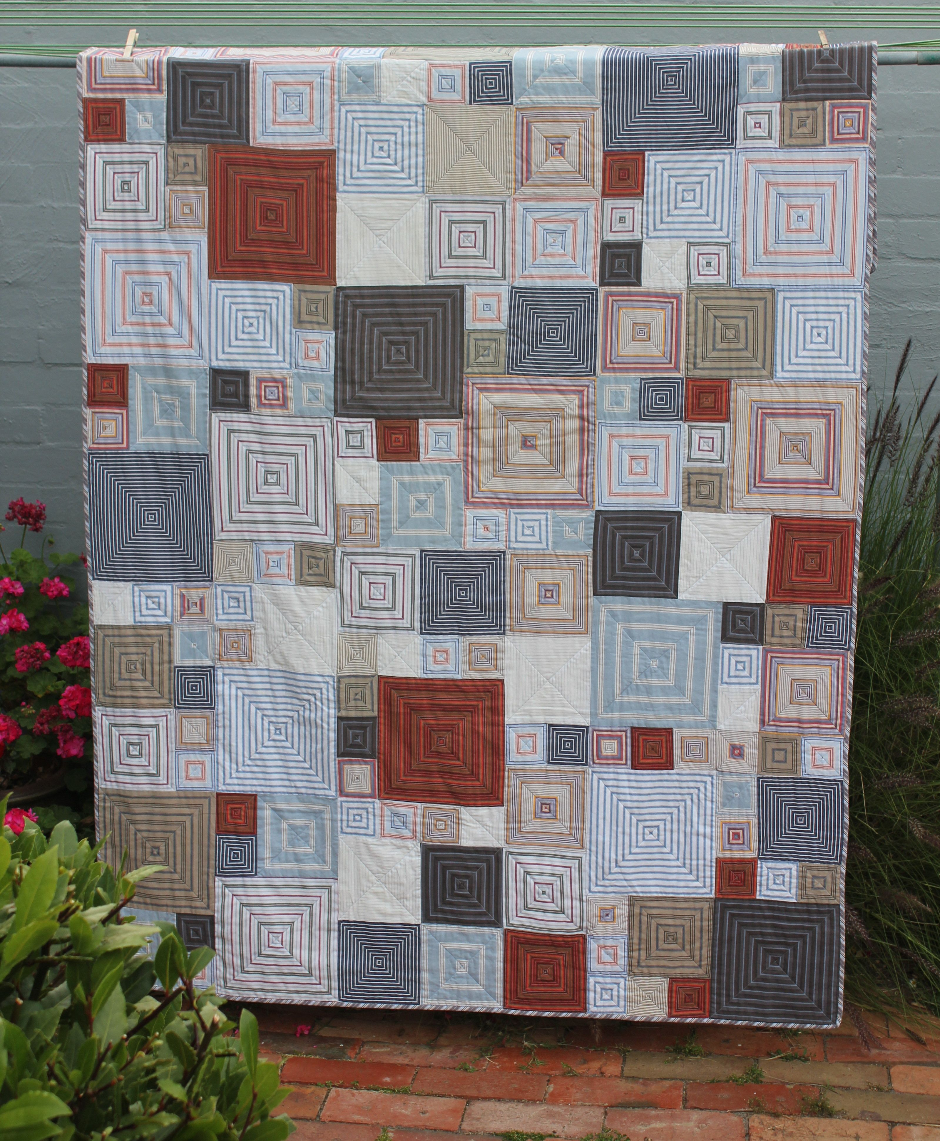I made this quilt for my son using pre- loved men's striped shirts ... : mens quilt - Adamdwight.com