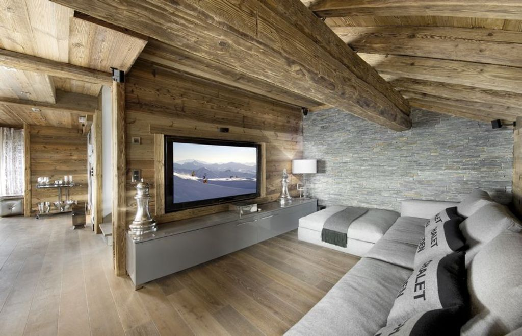 Fernsehecke ferienwohnung pinterest alpen bergh tte for Haus rustikal modern