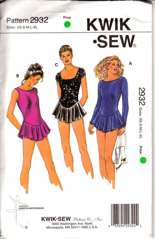 Leotard Costume Skirted Miss XS S M L XL Kwik Sew Sewing Pattern ...