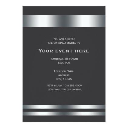 grey silver elegant dinner party event invitation pinterest
