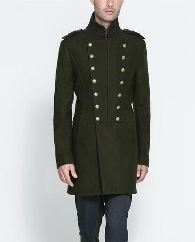 abrigo militar hombre zara