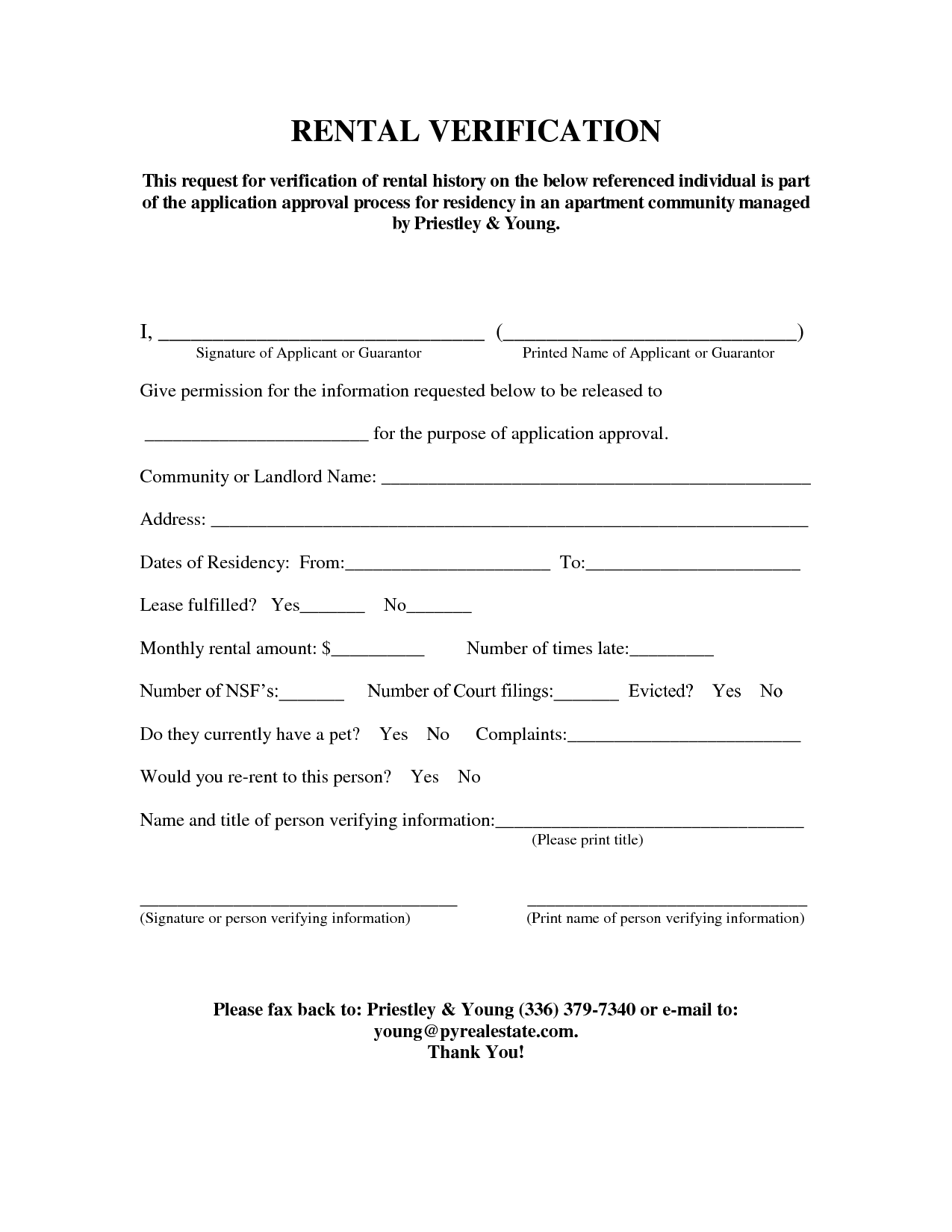 Rental Verification Form  Rent Verification