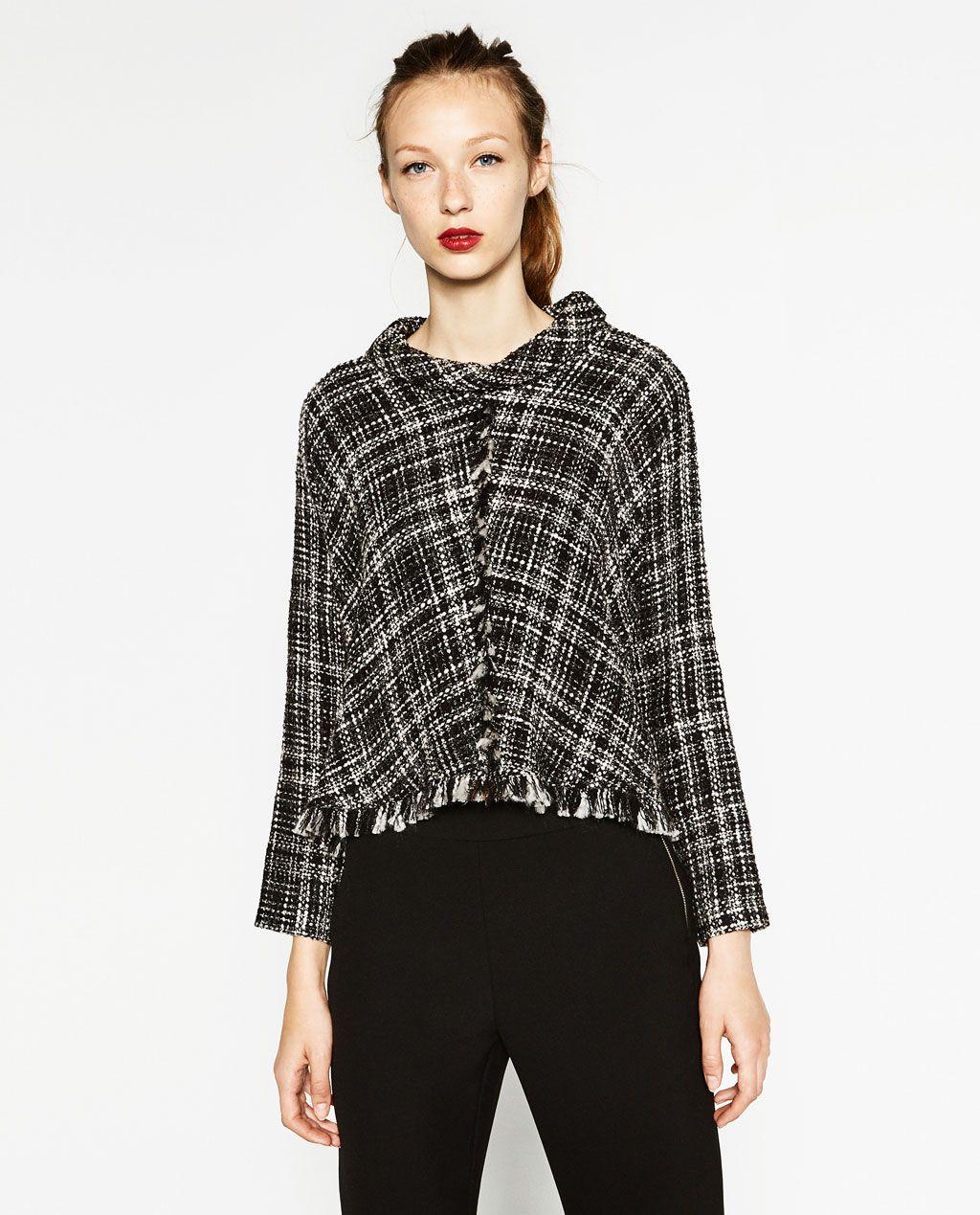 70c47a6b1682a7 FRAYED TWEED TOP from Zara Zara Women, Tween, Fall 2016, Blouses, Style