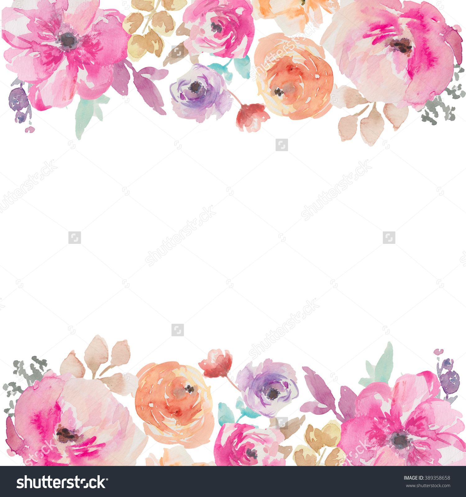 stock photo colorful watercolor flower border painted flower background paint