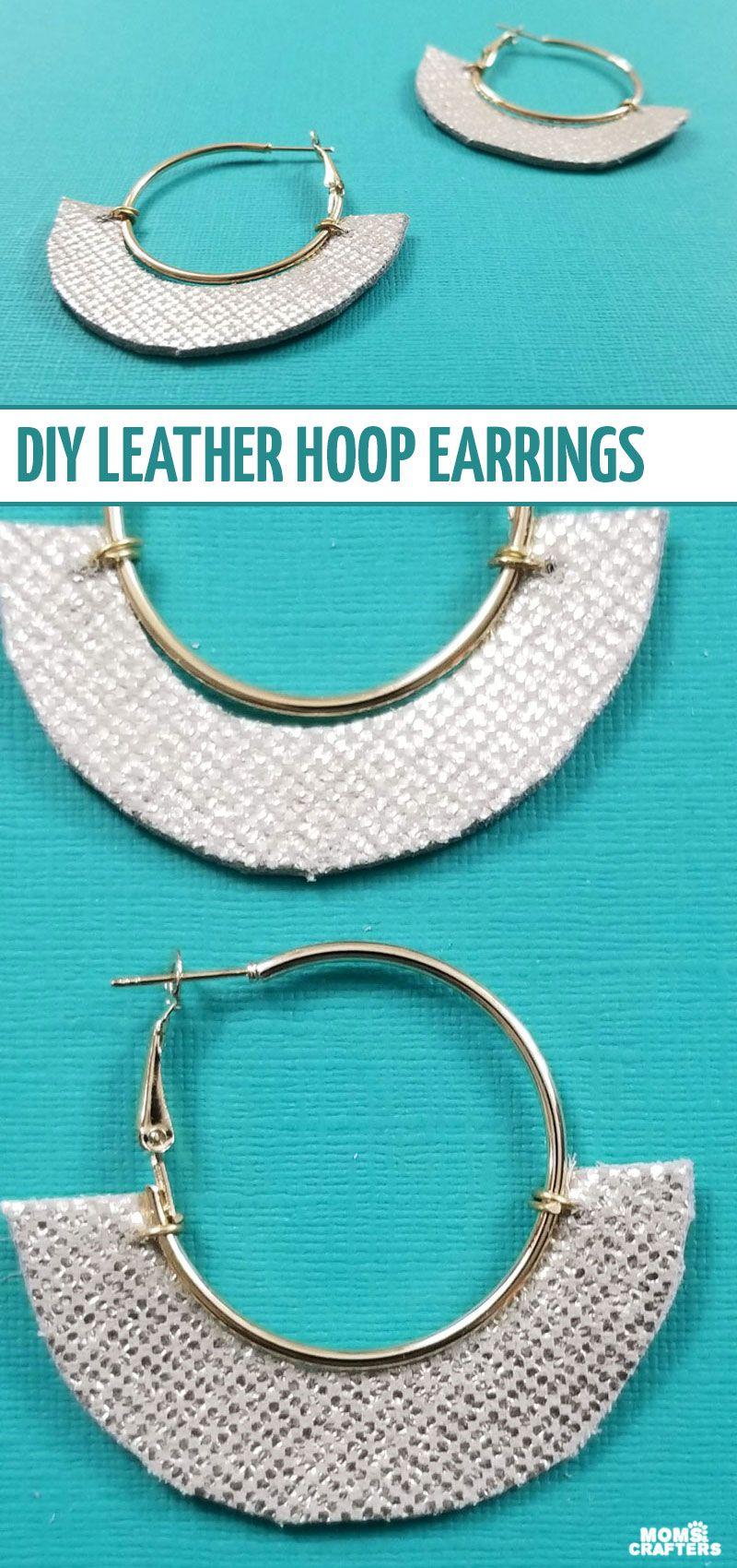 Photo of DIY Leather Hoop Earrings Tutorial * Moms and Crafters