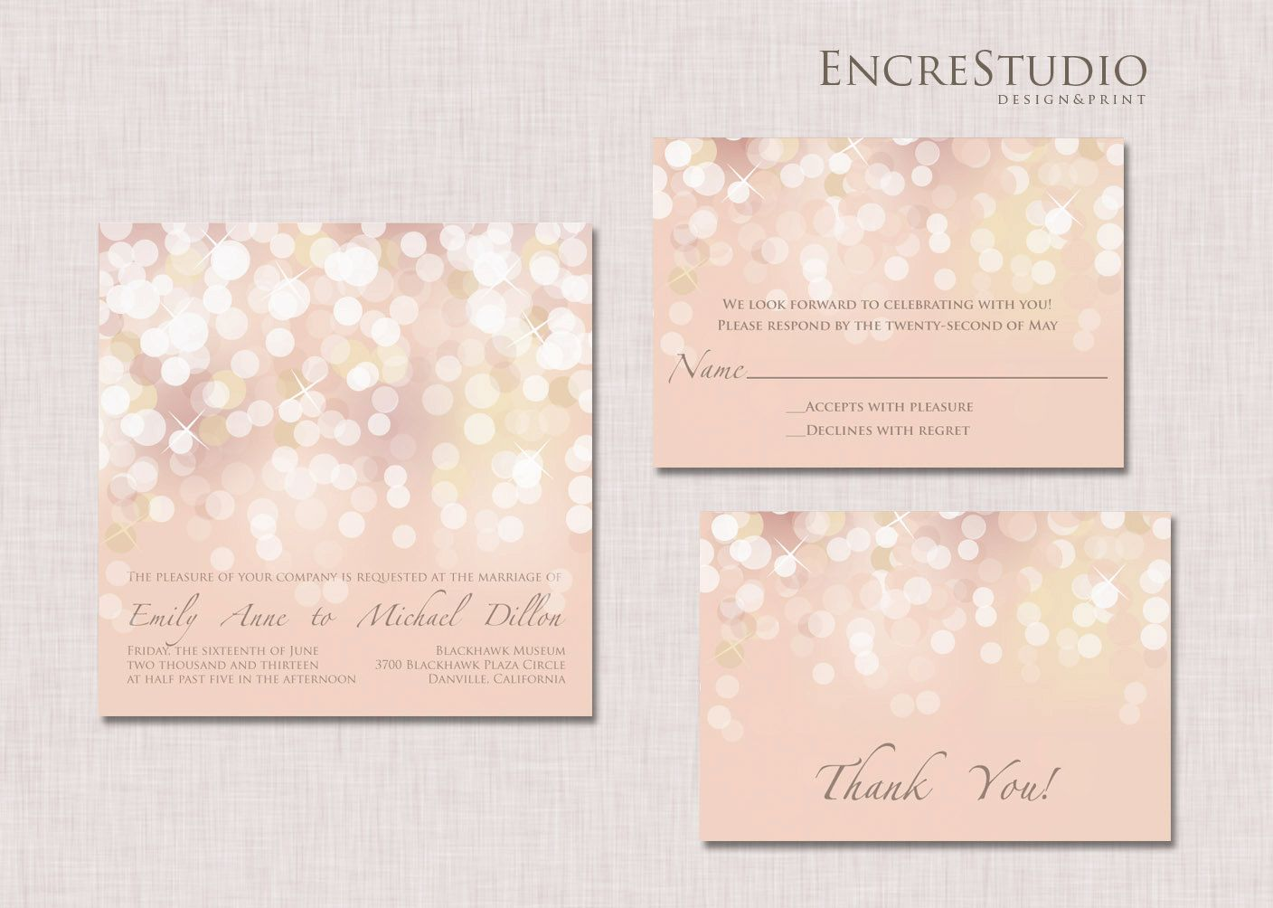 Sample gold and blush bokeh wedding invitation by encrestudio sample gold and blush bokeh wedding invitation by encrestudio stopboris Images