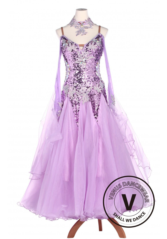 Violet Sequin Standard Smooth Tango Waltz Competition Ballroom Dress ...