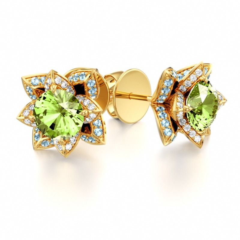 Fine Jewelry Genuine Peridot And 1/6C. T.T.W. Diamond 10K Yellow Gold Earrings XcFyHZhkjk