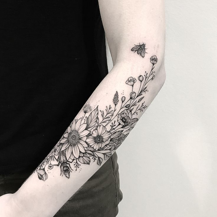 Black and White Floral Mandala Full Arm Sleeve Tat… – #arm #Black #floral #forblackwomen #Full