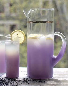 Lavender Lemonade |  Ingredients:  3 cups sugar, 7 sprigs lavender (stems & buds), 2 cups fresh lemon juice (from about 12 lemons), 1/2 cup fresh lime juice (from about 5 limes)  Directions:  In a large saucepan, bring one gallon of water and the sugar to a boil. Remove from heat; add lavender sprigs and lemon & lime juices. Cool to room temperature, strain, and chill. Serve on ice, with additional lavender for garnish.