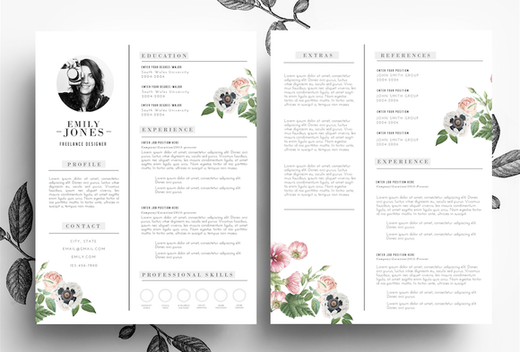 creative cv cover letter  psd word by emily u0026 39 s art boutique