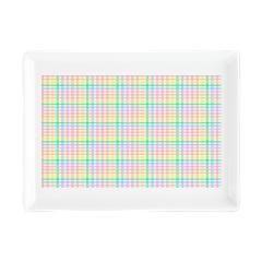 Pastel Checkerboard Rectangular Cocktail Plate