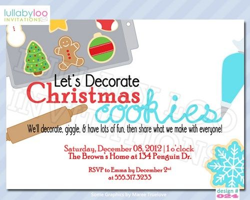 christmas cookie decorating party invitations   cookie party, party invitations