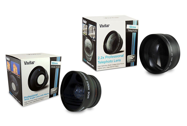 52mm Lens Bundle Vivitar 22x Telephoto And 043x Wide Angle High