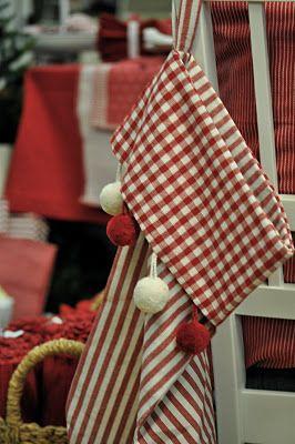 Gingham, stripes and pom pom stocking <3