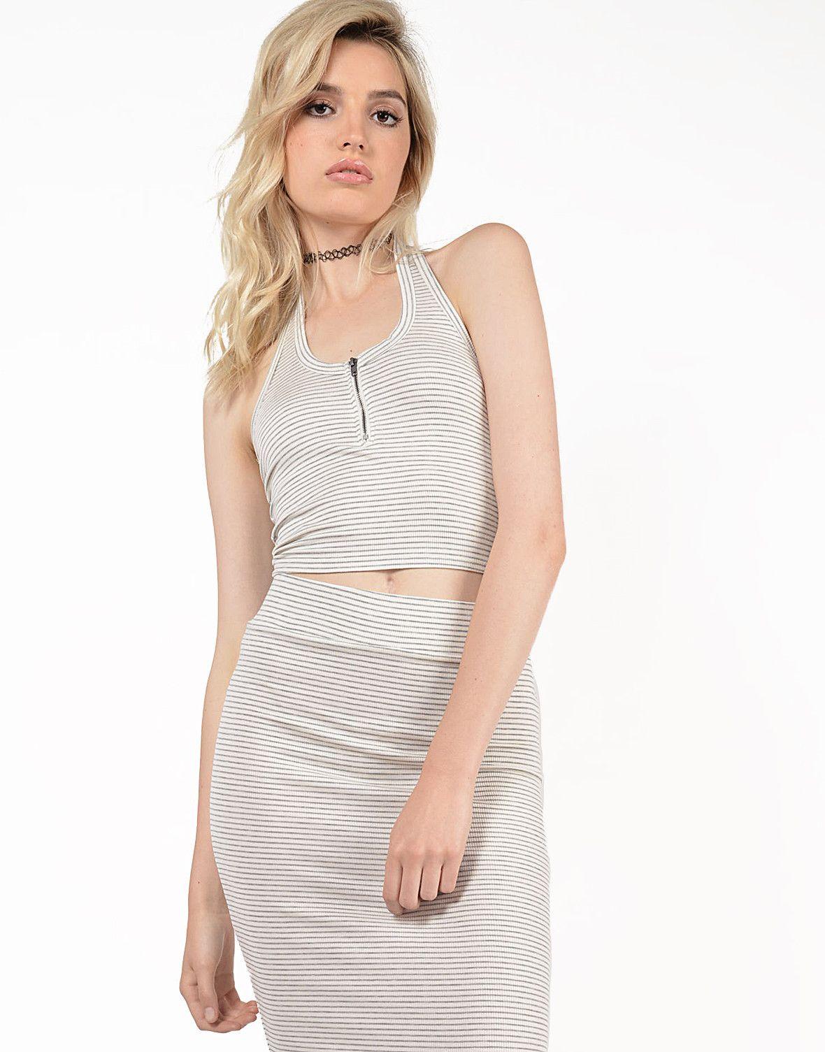 Striped Zip Halter Top