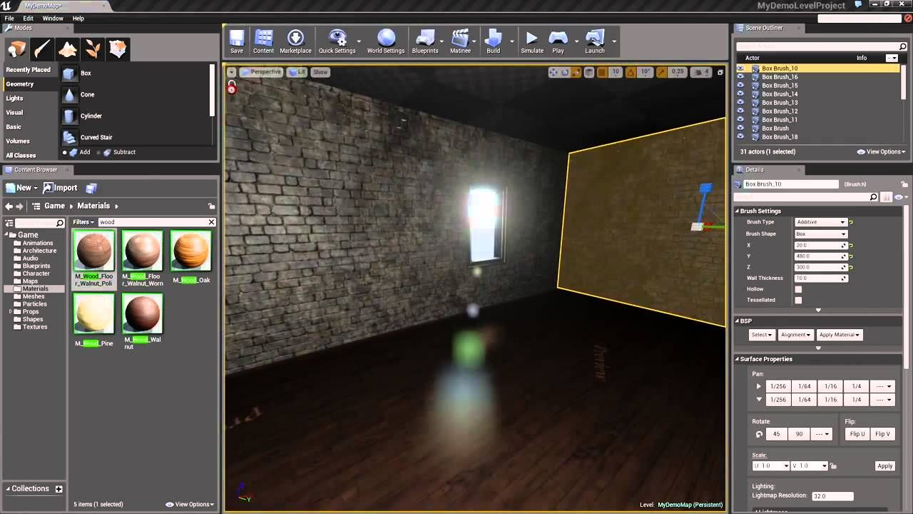 Unreal Engine 4 Creating A Level 4 Applying Materials To Geometry