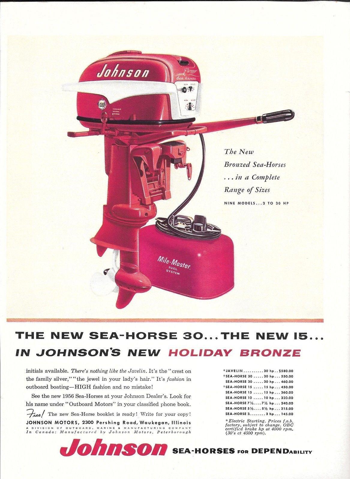 1956 Johnson Motors 2 Page Ad- The Javelin & Sea- Horse 30
