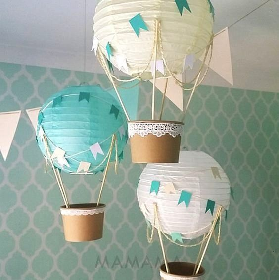 hot air balloon decoration DIY kit nursery decor baby shower decor baby boy mint travel theme nursery  set of 3  DESCRIPTION Decorate your party baby shower or childs nur...