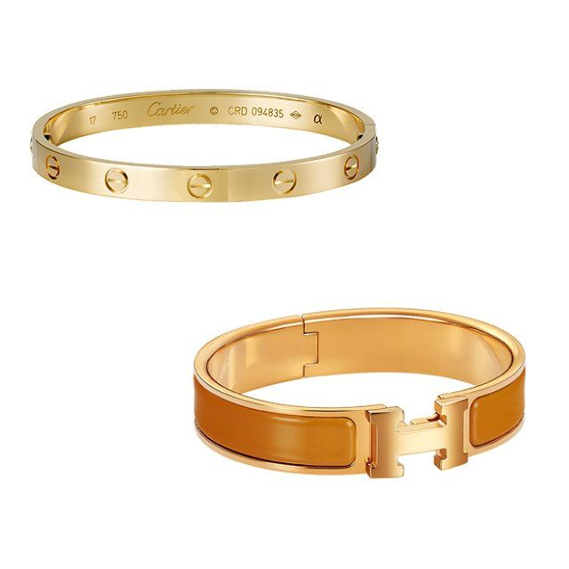 Cartier Love bracelet in yellow gold, $6,300, cartier.us; Hermès Clic H bracelet, $600, hermes.com
