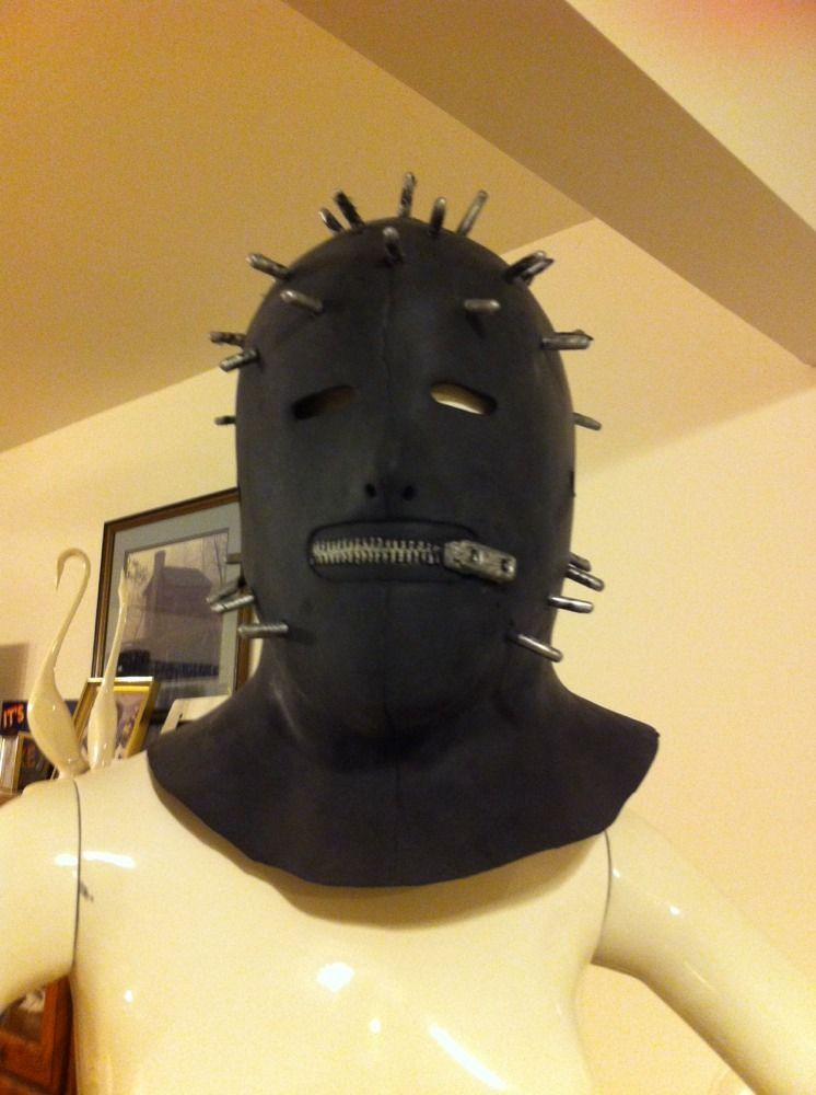 Rubber Black Mask Zipper Mouth Spike Motorcycle Goth Punk