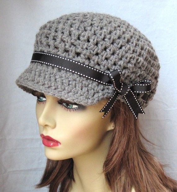 Crochet Newsboy Gray Teens Womens Hat, Black Ribbon, Chemo Hat ...