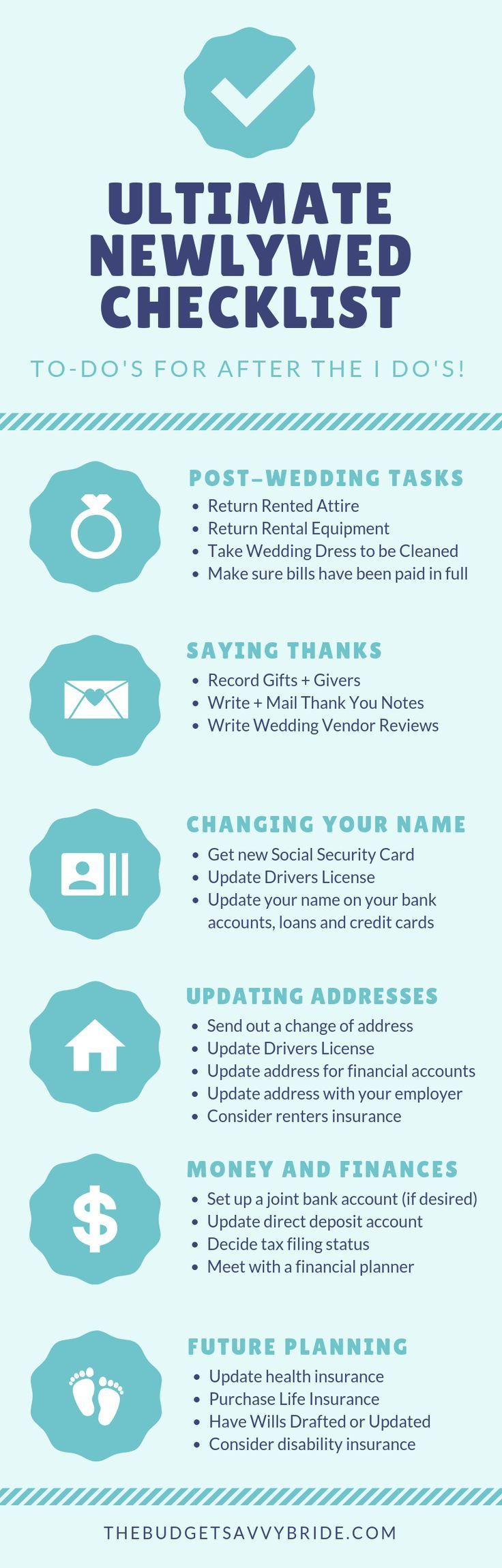 The Ultimate Newlywed Checklist With Images Newlyweds Wedding Checklist Budget Wedding Planning Advice
