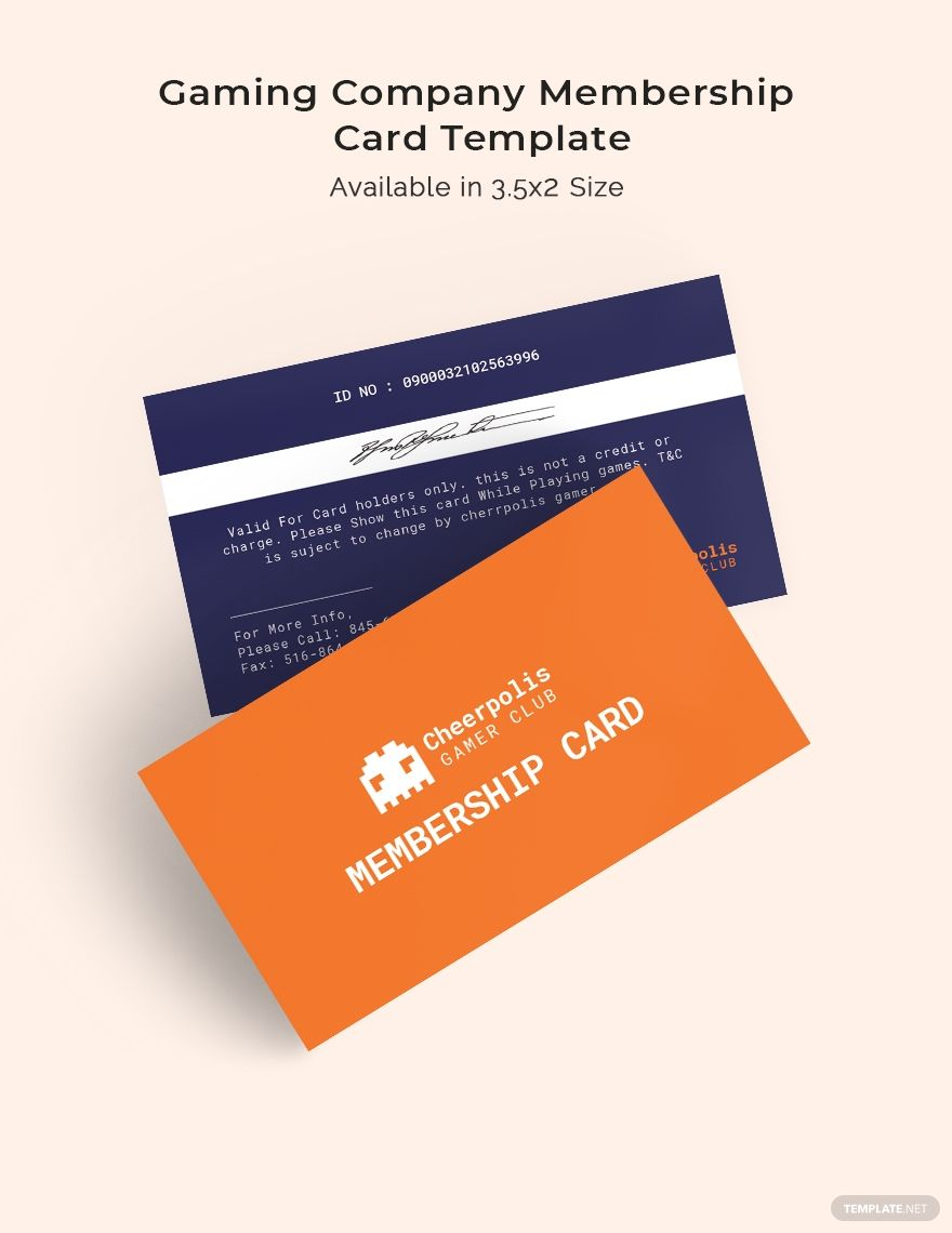 Gaming Company Membership Card Template Word Doc Psd Indesign Apple Mac Pages Illustrator Publisher Membership Card Card Template Email Template Design