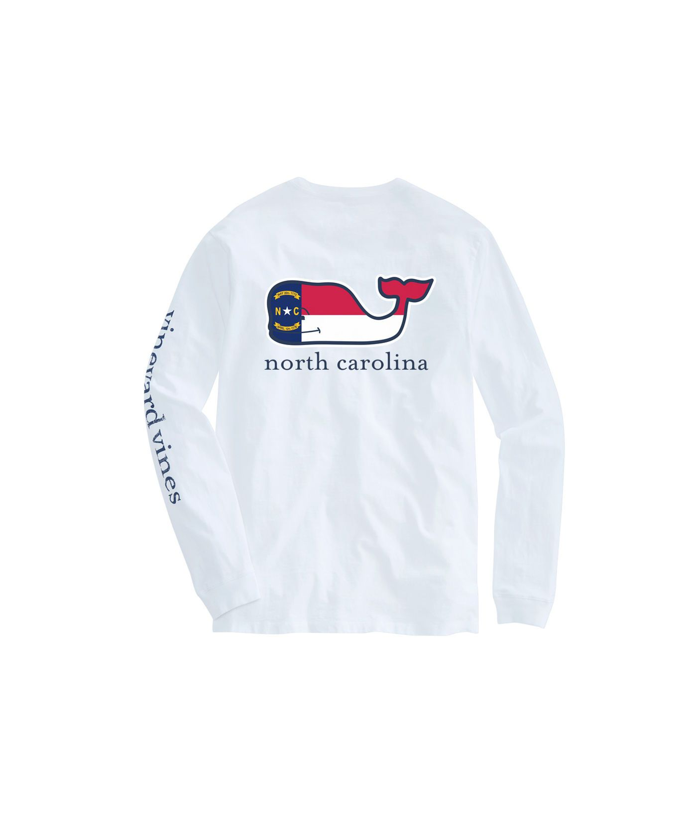 Adult Long Sleeve North Carolina Flag Whale Fill T Shirt With
