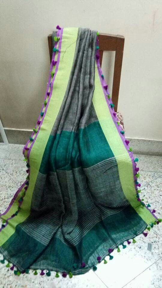 Pure Lenin sarees 100 count Price:2550 Order what's app 7995736811