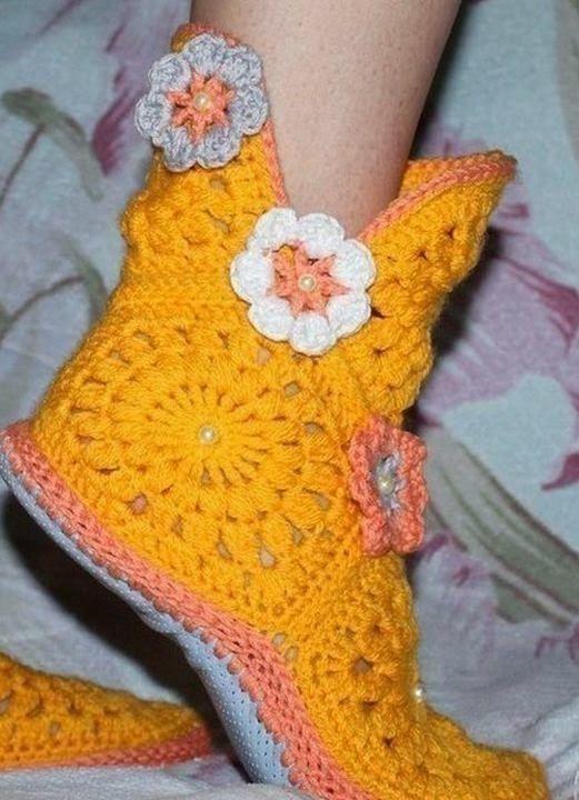 Cómo hacer calzado de descanso con grannys hexagonales | Crochet y ...