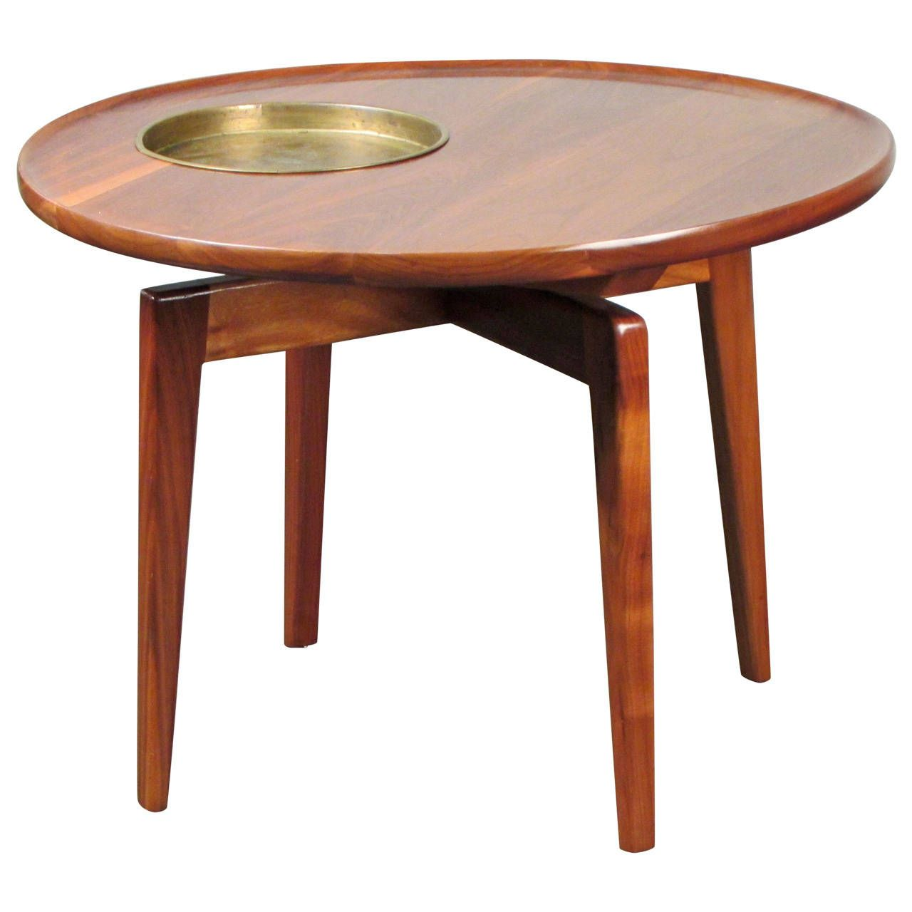 Jens risom floating bench for sale at 1stdibs - View This Item And Discover Similar End Tables For Sale At Rare Sculptural Walnut Table With Brass Plant Stand By Jens Risom Signed