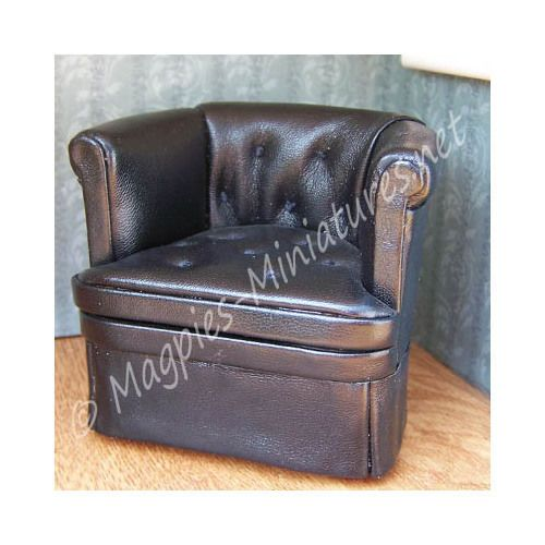 Doll House 12th Scale : 8039   Leather Chair Black  Jiayi