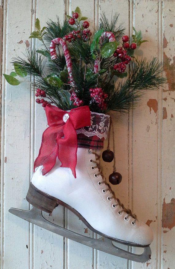 Christmas decor, Decorated Ice Skate, Christmas Ice skate , Wreath ...