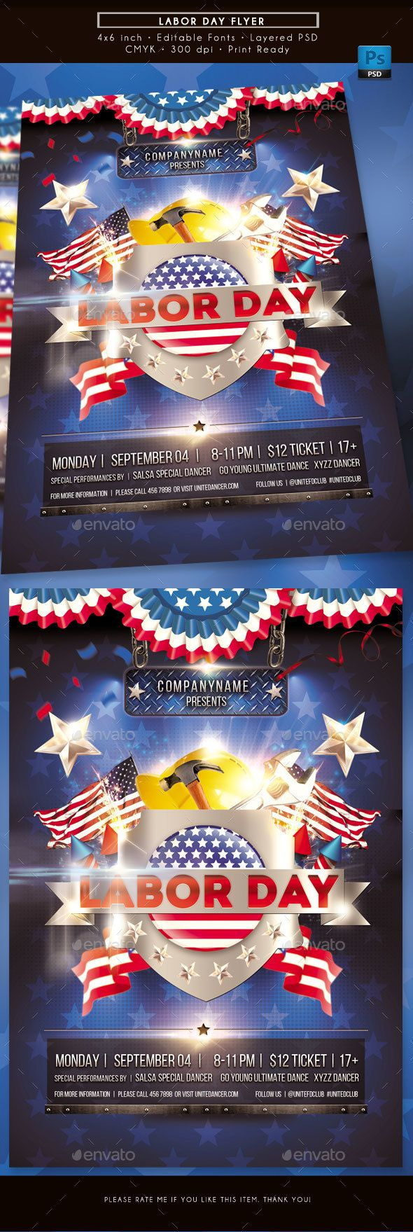 Labor Day Flyer | Flyer template, Labour and Party flyer
