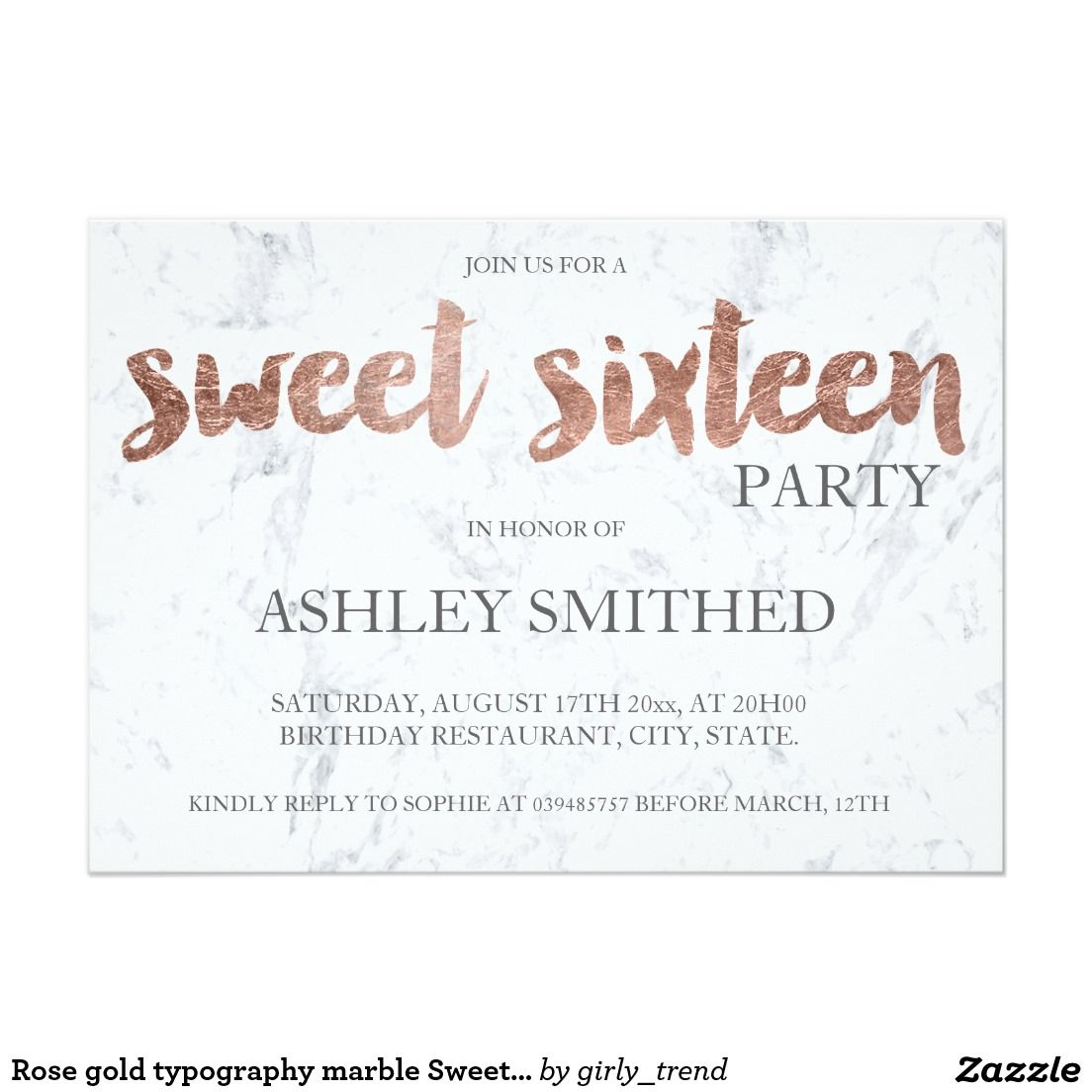 Rose Gold Typography Marble Sweet 16 Invitation