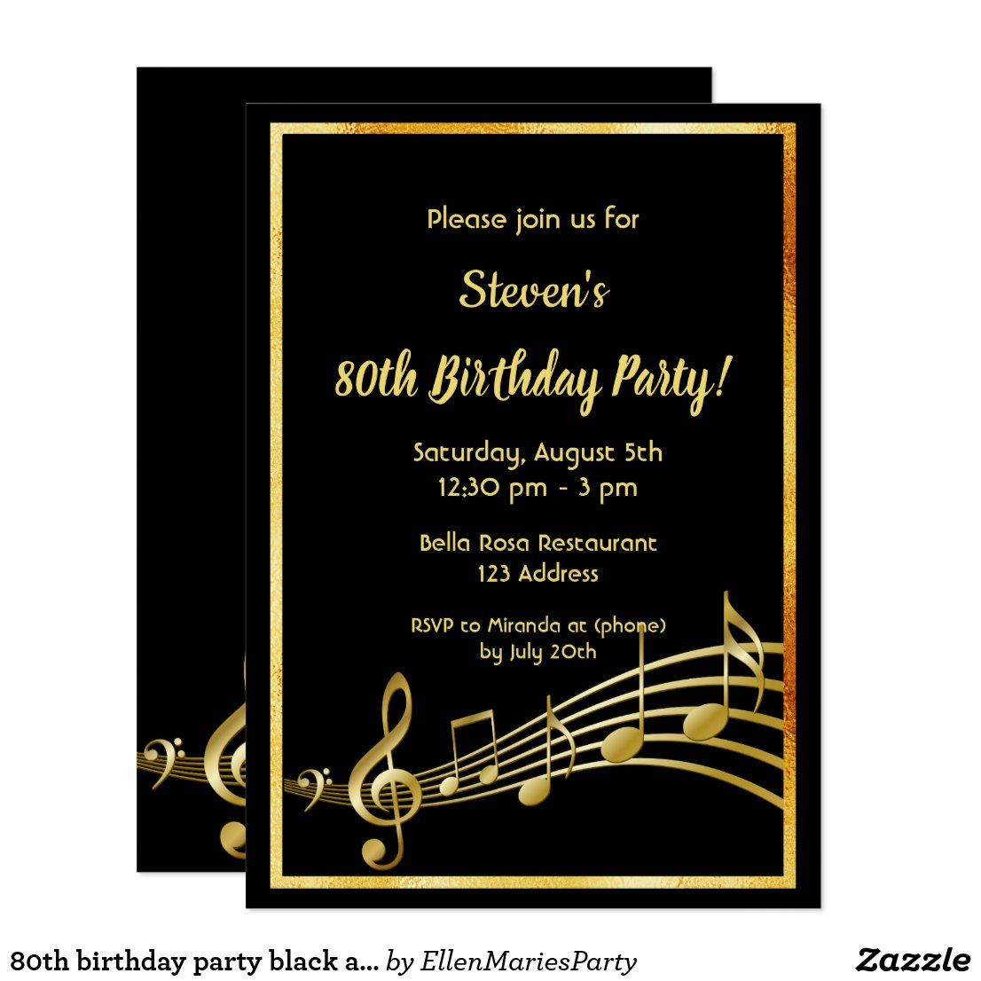 80th birthday party black and gold music notes invitation