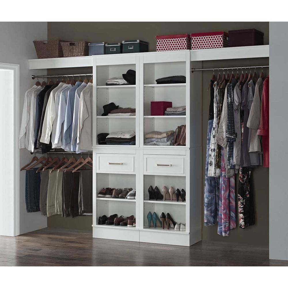 French Heritage 16 In D X 120 In W X 84 In H Parisian White Wood Closet System Vi 1005 120 Set The Home Depot Closet System Wood Closet Systems Closet Organizing Systems