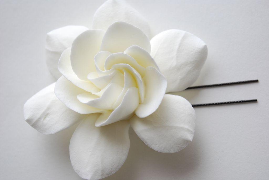 Gardenia Clay Flower Hair Clip Flowers In Hair Gardenia Flower Hair Clips