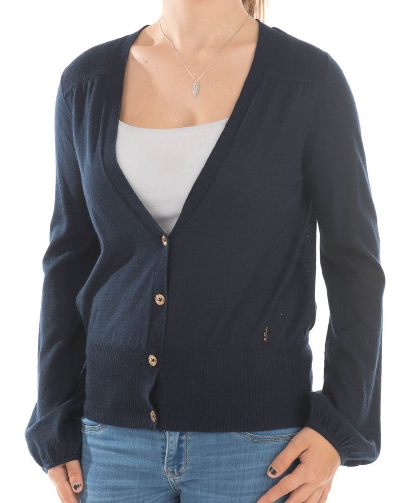 Juicy Couture Womens Casual Navy Blue Gold Classic Cardigan ...