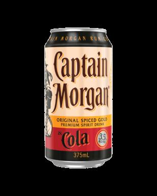 Captain Morgan Original Spiced Gold Rum Cola 10 Pack 375ml Gold Rum Captain Morgan The Originals