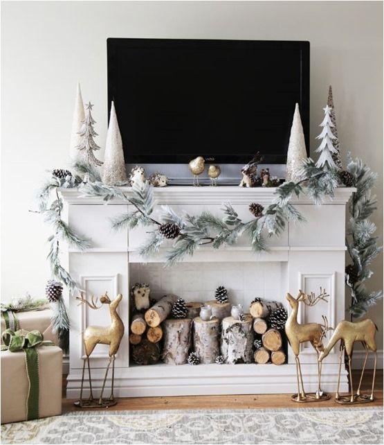 Christmas Decorating Around A Tv Minimal Holiday Pinte